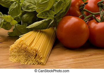 pasta - italian pasta with tomatoes basil close up