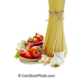 Italian pasta with tomatoes, garlic and red chilli pepper on...