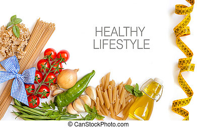 Italian Pasta with tomatoes, green beans, onion, garlic, herbs and olive oil on a white background (with space for text)
