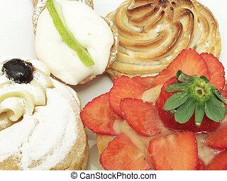macro photo of italian pastries