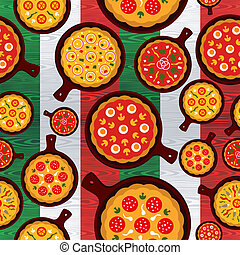 Different Pizza flavors seamless pattern over wooden textured Italian flag background. Vector file layered for easy manipulation and custom coloring.