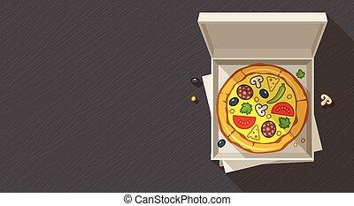 Italian pizza in open box