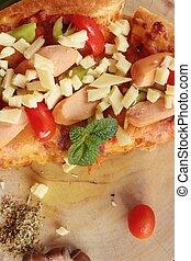 Italian pizza is delicious on wood background