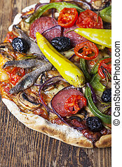 italian  pizza on wood
