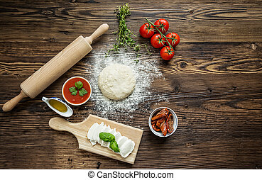Italian pizza preparation. - Italian pizza preparation...