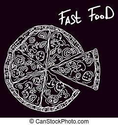 italian pizza sketch doodle drawing dark new
