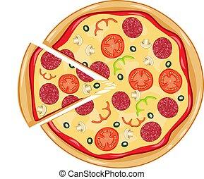 Italian pizza with tomato, sausage