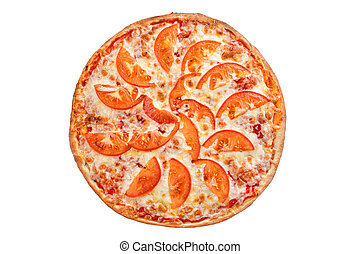Italian pizza with tomatoes on white background. Margherita.