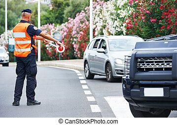 Italian special military police force carabinier stopping car
