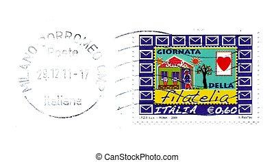 italian post stamp, celebration day of philately
