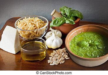 Italian recipe, noodles with pesto sauce