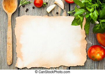 Italian recipe - Blank old aged paper with copy space for...