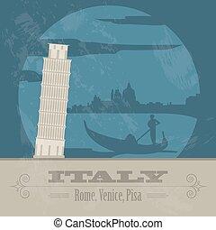 Italian Republic landmarks. Retro styled image. Vector...