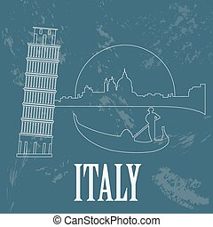 Italian Republic landmarks. Retro