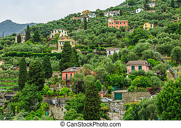 Italian resort Rapallo mountain view