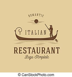Italian Restaurant Abstract Vector Concept Logo Template 2.
