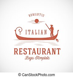 Italian Restaurant Abstract Vector Concept Logo Template.