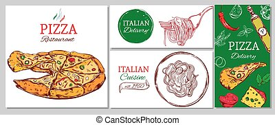 Italian restaurant corporate identity template with pizza pasta and different ingredients vector illustration