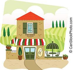 Italian Restaurant - Cartoon illustration of an Italian...