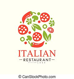 Italian restaurant logo design, authentic traditional continental food label vector Illustration i on a white background