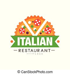 Italian restaurant logo design, authentic traditional continental food label vector Illustration on a white background