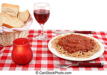 italian restaurant - Spaghetti plate and table setting