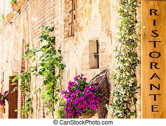 Italian Restaurant - Tuscany, Italy. Sightseeing of Italian...