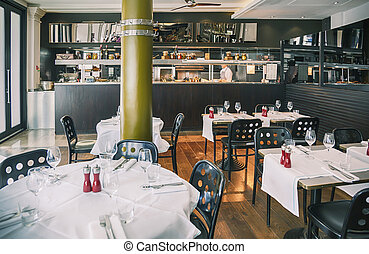 Italian restaurant - detail of interior of Italian...