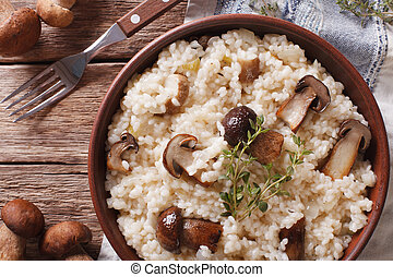 Italian rice with wild mushrooms close up on the table....
