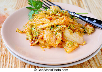 Italian risotto with cabbage