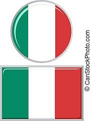 Italian round and square icon flag.
