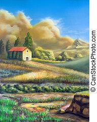 Farmland in Tuscany, Italy. My original hand painted illustration.