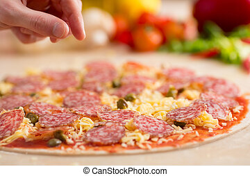 italian salami pizza making