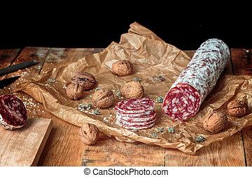 Italian salami with walnuts