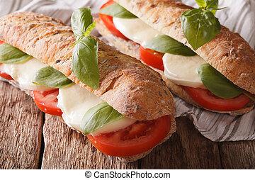 Italian sandwich with tomatoes, mozzarella and basil closeup. horizontal
