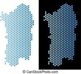 Italian Sardinia Island Map Hex-Tile Scheme - Hex-Tile...