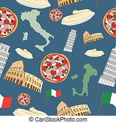 Italian seamless pattern. Vector Background of the symbols of Italy: pizza and pasta, Colosseum and leaning tower of Pisa. Map and country flag.