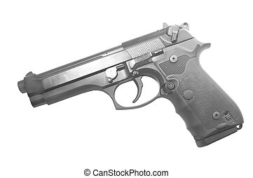 Italian semiautomatic handgun isolated on a white background