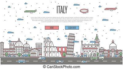 Italian skyline with national famous landmarks