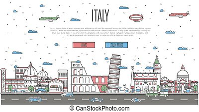 Italian skyline with national famous landmarks