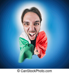 Italian soccer Fan holding the flag of Italy