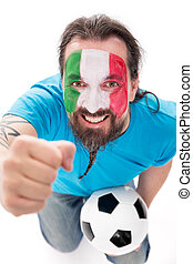 Italian soccer fan is happy and excited