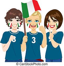 Italian Soccer Fans - Young Italian soccer fans cheering...