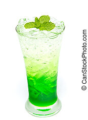 Italian Soda with mint leaf on white background