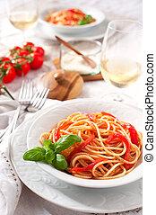 Italian spaghetti tomato sauce and basil
