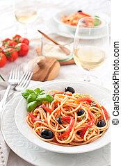 Italian spaghetti tomato sauce, basil and olive