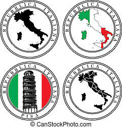 Italian Stamp - Vectorial set of postal stamp on theme of...