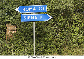 Italian street signs with overgrown vegetation pointing to Rome and Siena.