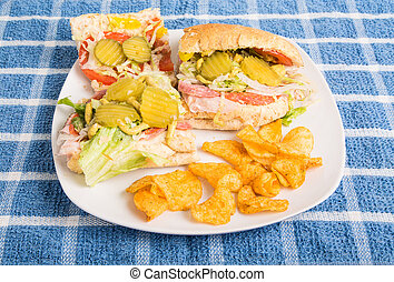 Italian Sub Sandwich with Pickles and Chips
