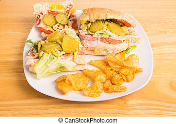 Italian Sub wit Pickle Slices and Mustard